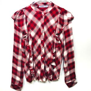 Zara red white plaid ruffle button up blouse small